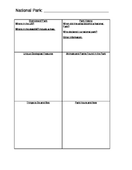National Park Brochure project and rubric