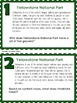 National Park Non-Fiction Comprehension Task Cards