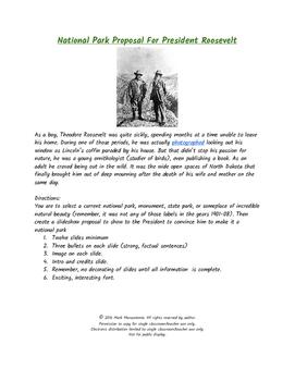 National Park Proposal For President T. Roosevelt