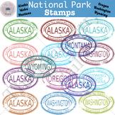 National Park Stamp Clip Art Set 1 (AK,ID,MT,OR,WA,WY)