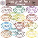 National Park Stamp Clip Art Set 2 (CA,NV,UT)