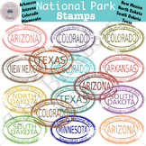National Park Stamp Clip Art Set 3 (AR,AZ,CO,MN,NM,ND,SD,TX)