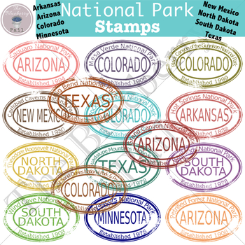 National Park Stamp Clip Art Set 3 (AR,AZ,CO,MN,NM,ND,SD,TX)