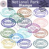 National Park Stamp Clip Art Set 4 (FL,HI,KY,ME...)