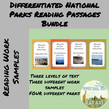 National Parks Differentiated Reading Passages Bundle- Designed for VAAP/SPED!