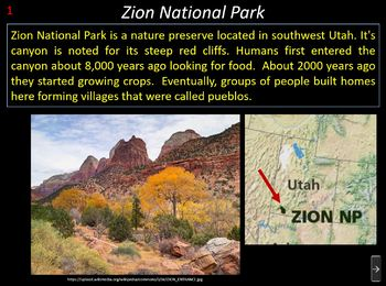 National Parks Game (a Whooz' First? Jeopardy-type Program)