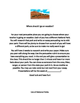 National Parks Persuasive Essay
