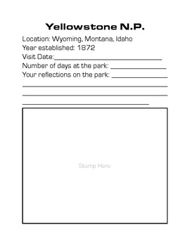 National Parks Stamp Book - U.S. History & Geography Summer Activity