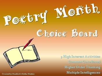 National Poetry Month Choice Board Poem Activities Menu Ti