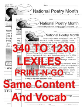 National Poetry Month FACTS Close Read 5Levels Differentiated Article PRINT-N-GO