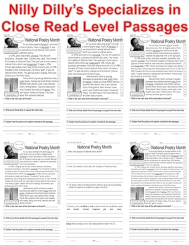 National Poetry Month CLOSE READING 5 LEVEL PASSAGES Main Idea Fluency Check TDQ