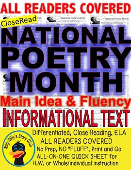 National Poetry Month FACTS Close Read 5Levels Differentia