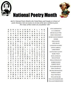 National Poetry Month Word Search