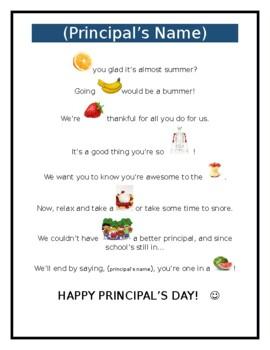 National Principal's Day or Teacher Appreciation Fruit Poem