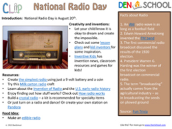 National Radio Day CLIP (Creative Learning in a Pinch) Aug. 20th