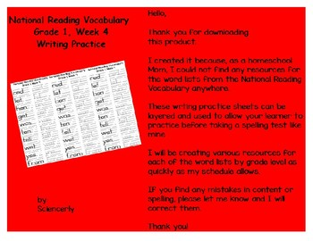 National Reading Vocabulary, Grade 1, Week 4--Writing Practice