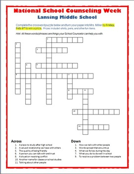 National School Counseling Week Crossword Puzzle
