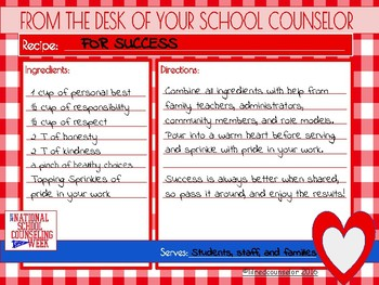 National School Counseling Week NSCW - Recipe for Success Printables