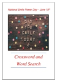 National Smile Power Day - June 15th Crossword Puzzle Word Search Bell Ringer