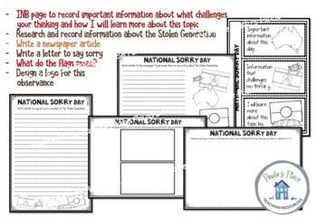 National Sorry Day Templates for Recording Learning