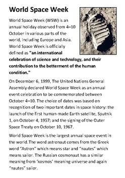 National Space Week Handout with activities