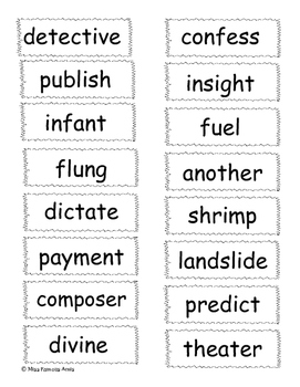 National Spelling Bee Word Cards