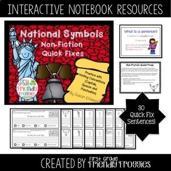 National Symbols Bundle - Interactive Notebook - Quick Sentence Fixes