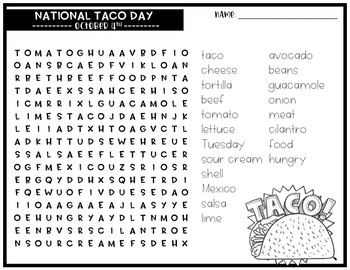 National Taco Day Word Search