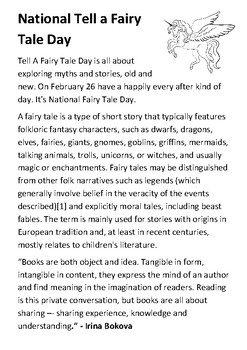 National Tell a Fairy Tale Day Handout