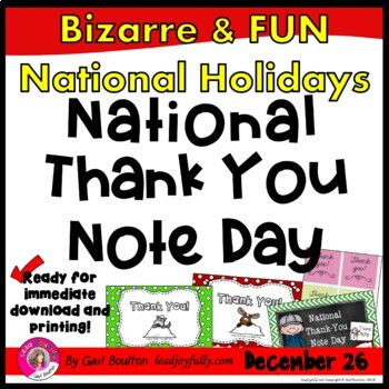 National Thank You Note Day (December 26th)