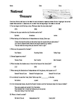 National Treasure 1 Movie Guide Questions Declaration of Independence
