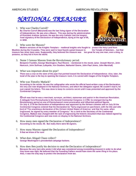 national treasure movie study guide answer key by