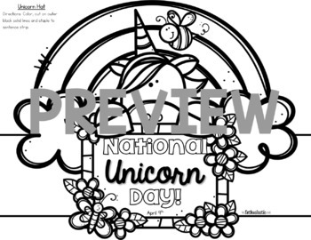 National Unicorn Day Writing Prompts & Hat FREEBIE