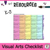 National Visual Arts Standards checklist and grid format