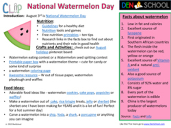 National Watermelon Day CLIP (Creative Learning in a Pinch) Aug 3