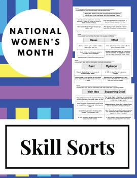 NO PREP National Women's Month Comprehension Skill Sorts