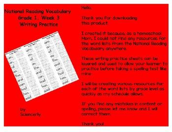 National Writing Vocabulary, Grade 1, Week 3--Writing Practice