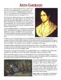 Nationalism: Anita Garibaldi Reading and Worksheet