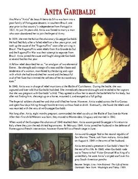 Nationalism: Anita Garibaldi Reading and Worksheet
