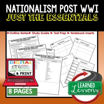 Nationalism Before WWII Outline Notes, Nationalism Bullet Notes, Unit Review