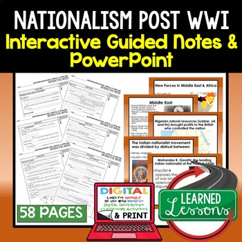 Nationalism Post WWI Guided Notes & PowerPoints, Digital and Print