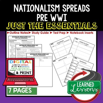 Nationalism Pre WWI Outline Notes JUST THE ESSENTIALS Unit Review