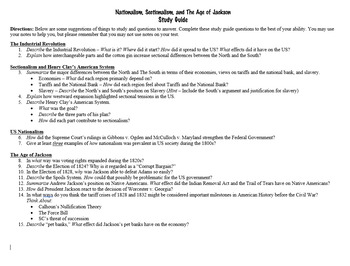 Nationalism, Sectionalism, and Age of Jackson Study Guide