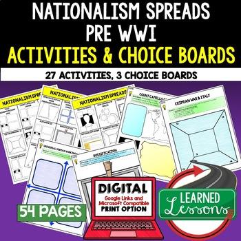 Nationalism Spreads Pre World  War I Activities, Choice Board, Print & Digital