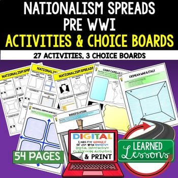 Nationalism Spreads Pre World  War I Choice Board Activiti