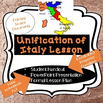 Nationalism: UNIFICATION OF ITALY PowerPoint + Handout with Primary Docs + Video