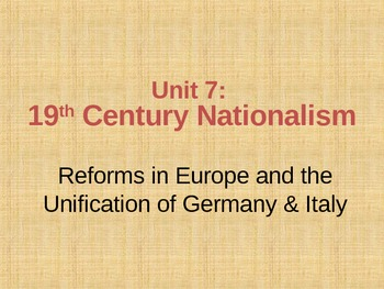 Nationalism- Unification of Italy and Germany