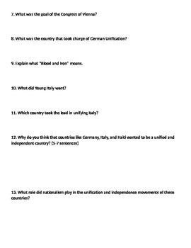 Global 2: Nationalism Worksheet
