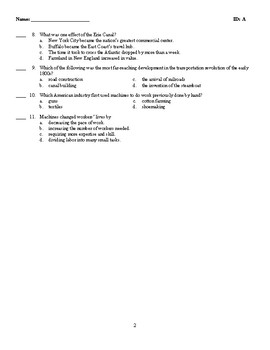 U.S. History - Nationalism and Sectionalism Test (1812-1855)