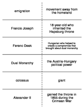 Nationalism in Europe Vocabulary Flash Cards for World History